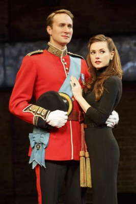 Prince William (Oliver Chris) and Kate (Lydia Wilson) look at a future without Queen Elizabeth in royal Broadway drama (photo by Joan Marcus)