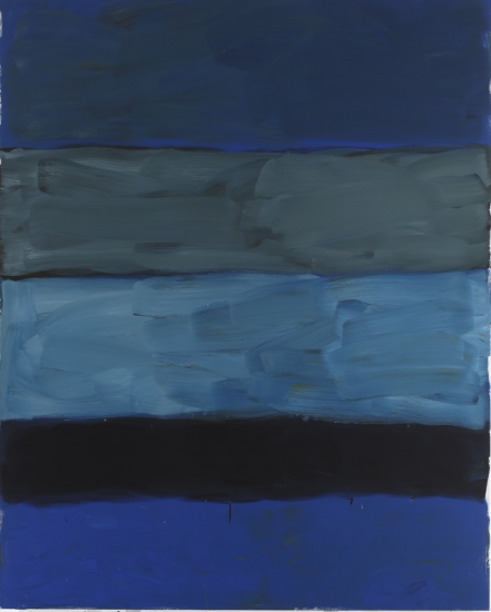 "Sean Scully, ""Landline Deep Blue Sea,"" oil on aluminum, 2015 (©Sean Scully / courtesy of Timothy Taylor Gallery, London)"