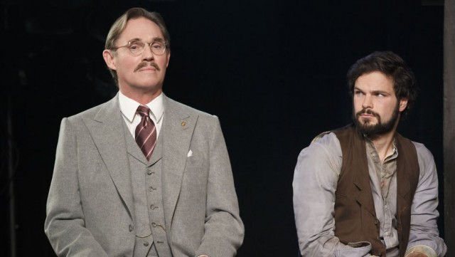 Von Berg (Richard Thomas) and Lebeau (Jonny Orisini) discuss their fate in Signature revival of Arthur Millers INCIDENT AT VICHY (photo by Joan Marcus)