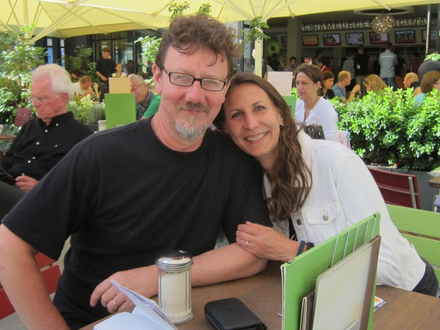 Janet Biggs and husband Bob Cmar take a break in Germany