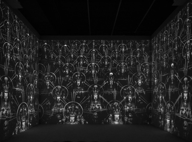 "Hiroshi Sugimoto's three-channel video, ""Accelerated Buddha,"" explores the nature of time and space, life and death, art and spirituality (photo courtesy the artist's studio)"