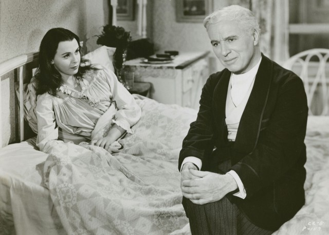 Calvero (Charles Chaplin) cares for suicidal ballerina Terry (Claire Bloom) in LIMELIGHT