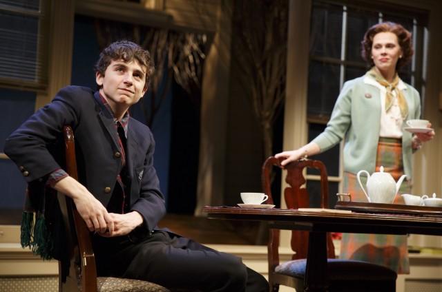 Jim Quinn (Timothée Chalamet) shares his dreams with Louise Schmitt (Annika Boras) in John Patrick Shanley's latest memory play (photo © 2016 by Joan Marcus)