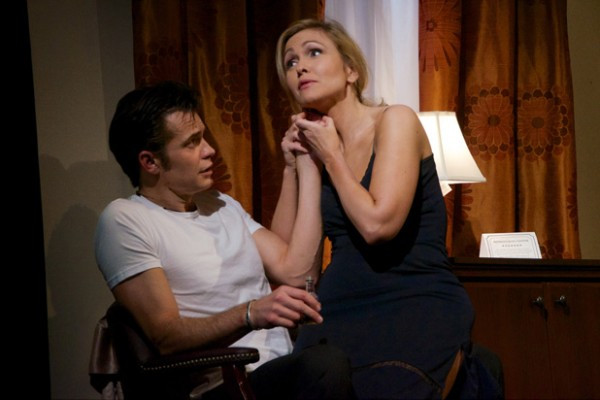 Nancy (Jenn Lyon) dreams of a better life with Strings McCrane (Timothy Olyphant) in new Kenneth Lonergan play (photo by Doug Hamilton)