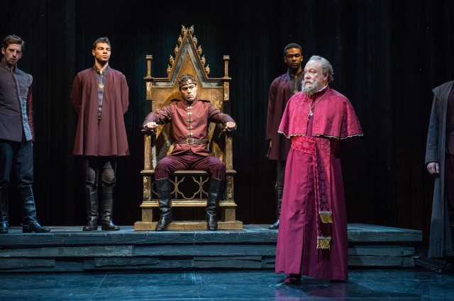 Alex Hassell takes the throne as Henry V in final work in Shakespeare's Henriad (photo by Stephanie Berger)