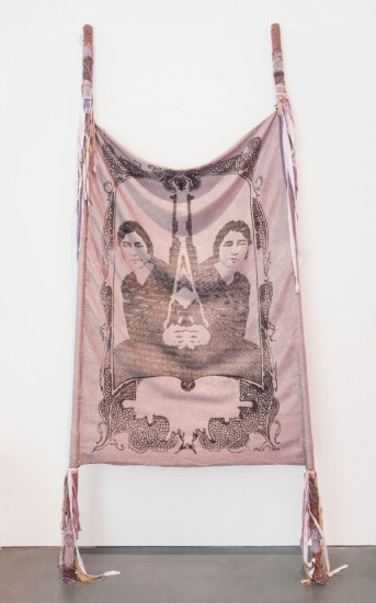 "L. J. Roberts, ""Sisters Are Doing It for Themselves,"" Jacquard-woven cotton and Lurex, hand-dyed fabric, crank-knit yarn, thread, 2011 (photo by Mario Gallucci)"