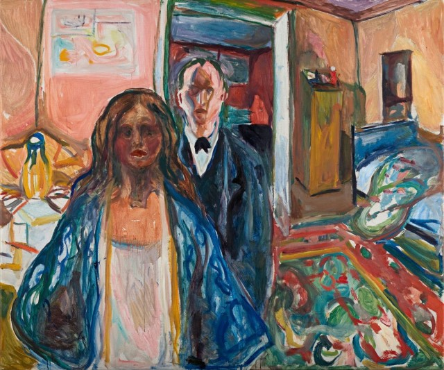 "Edvard Munch, ""The Artist and His Model,"" oil on canvas, 1919-21 (the Munch Museum, Oslo)"