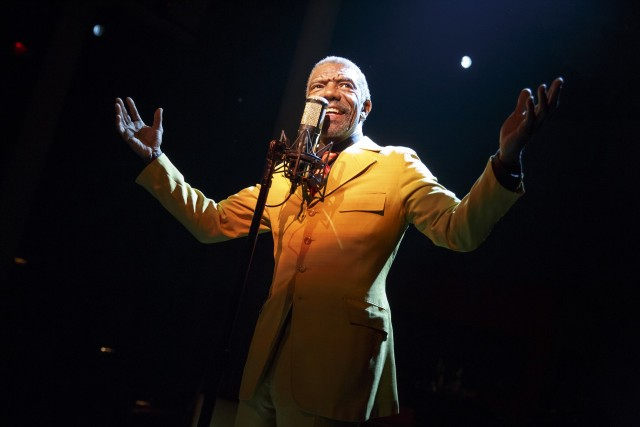 The legendary Papa Joe Roy (Vondie Curtis Hall) preaches in Bluntgomery, Alabama in THE TOTAL BENT (photo by Joan Marcus)