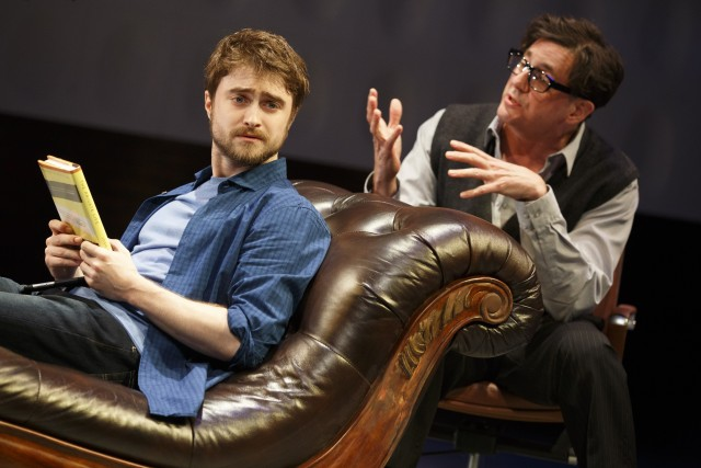 Daniel Radcliffe and Reg Rogers in PRIVACY (photo by Joan Marcus)