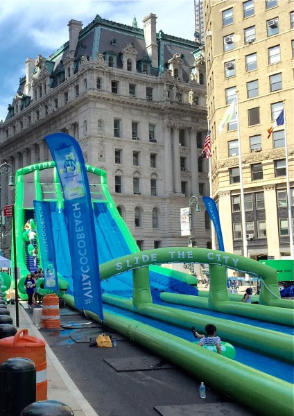Giant slide is a highlight of Summer Streets program on Saturday mornings in August (photo by twi-ny/ees)