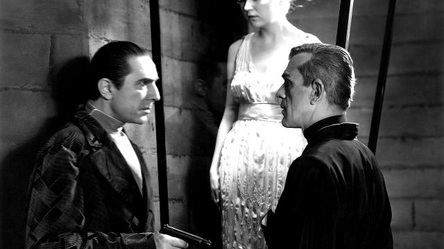 Bela Lugosi and Boris Karloff play longtime enemies in THE BLACK CAT