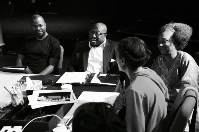 Harrison David Rivers, Justin Hicks, Abisola Faison, and Raelle Myrick-Hodges discuss SWEET on the first day of rehearsals (photo by James Reynolds)