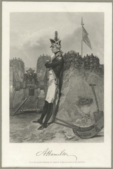 After Alonzo Chappel. Hamilton at Yorktown in 1781, steel engraving (New York: Johnson, Fry, and Co., 1858. NYPL, Picture Collection)