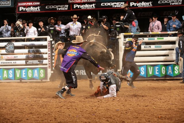 Jesse and Tanner battle Compact during the championship round in Phoenix (photo by Andy Watson / Courtesy PBR/Bull Stock Media)