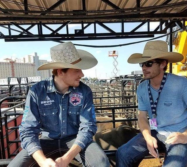 Tanner and Jesse Byrne take a break before the Resort Invitational in Thackerville, Oklahoma (photo courtesy Jared Allen's Pro Bull Team)
