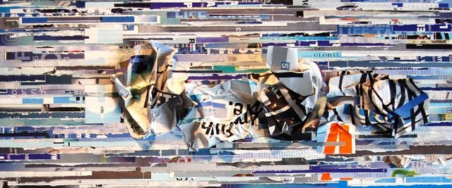 tm gratkowski no matter what collaged paper on wood panel (courtesy of the artist and Walter Maciel Gallery)