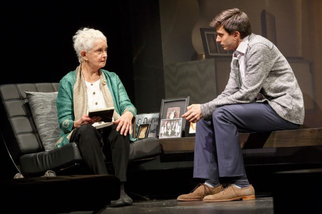Grandma Helen offers Jordan (Gideon Glick) some relationship advice in SIGNIFICANT OTHER (photo by Joan Marcus)
