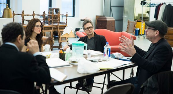 Tony Shalhoub, Jessica Hecht, and Mark Ruffalo listen to director Terry Kinney at rehearsal of THE PRICE (photo by Jenny Anderson)