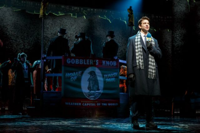 Phil Connors (Andy Karl) is trapped in Punxsutawney, PA, forced to relive Groundhog Day over and over again (photo by Joan Marcus)