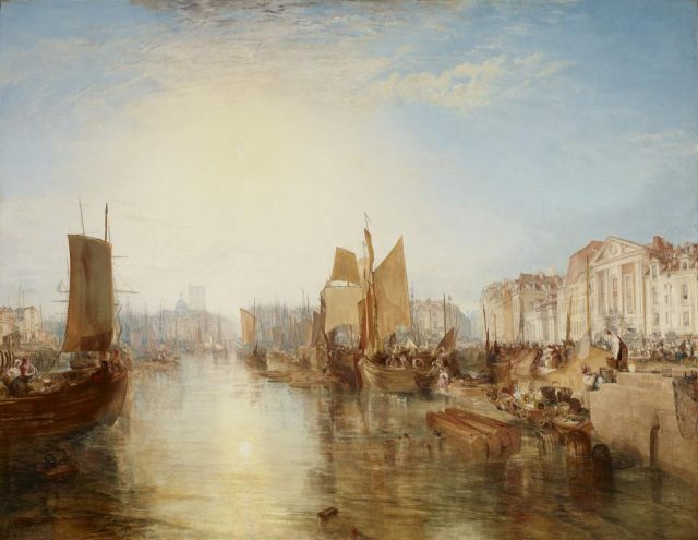 Joseph Mallord William Turner, The Harbor of Dieppe: Changement de Domicile, oil on canvas, exhibited 1825, but subsequently dated 1826 (© The Frick Collection)