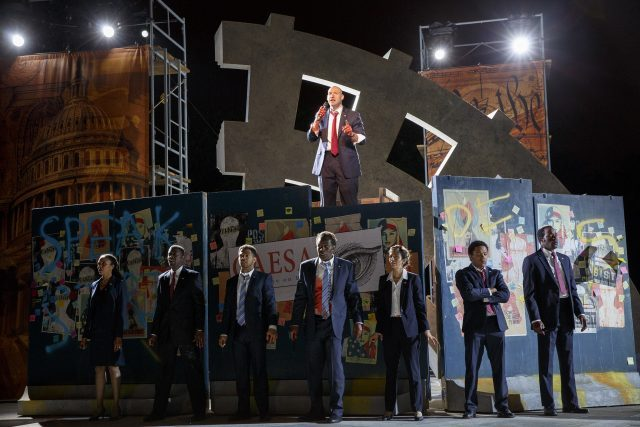 Brutus (Corey Stoll) addresses the people of Rome in Oskar Eustis adaptation of Shakespeare tragedy (photo by Joan Marcus)