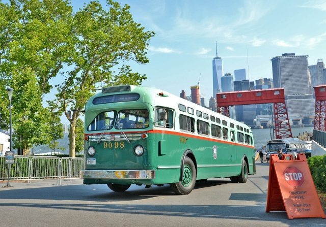 New York Transit Museum Vintage Bus Bash pulls into Governors Island on Saturday (photo by Marc A. Hermann / MTA New York City Transit)