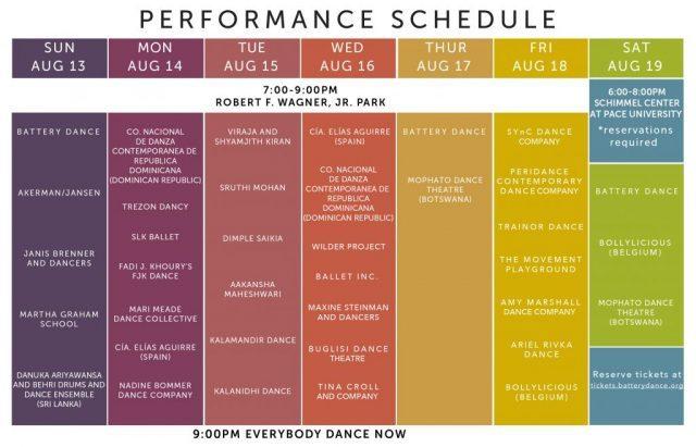 battery park dance schedule