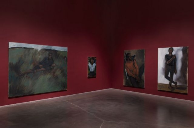 """Installation view. """"Lynette Yiadom-Boakye: Under-Song For A Cipher,"""" 2017. New Museum, New York. Photo: Maris Hutchinson / EPW Studio"""