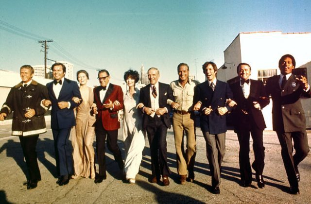 The all-star cast of The Towering Inferno in happier times