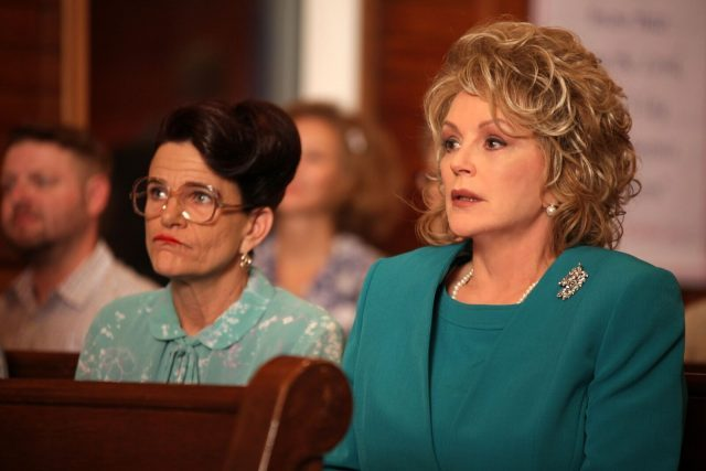 Sissy Hickey (Dale Dickey) and Latrelle Williamson (Bonnie Bedelia) fight for gay rights in A Very Sordid Wedding