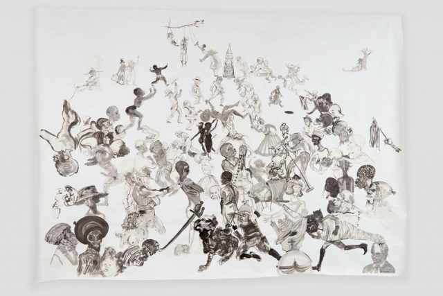 "Kara Walker, ""Christ's Entry into Journalism,"" Sumi ink and collage on paper, 2017 (Photo: © Kara Walker / Courtesy of Sikkema Jenkins & Co., New York)"