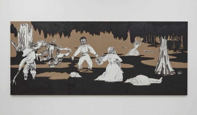 "Kara Walker, ""Dredging the Quagmire (Bottomless Pit),"" triptych, oil stick and Sumi ink on paper collaged on linen, 2017 (Photo: © Kara Walker / Courtesy of Sikkema Jenkins & Co., New York)"