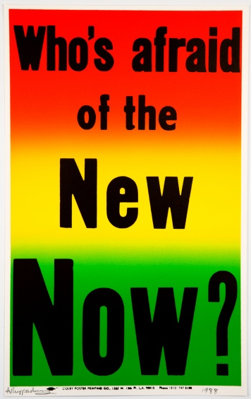 Allen Ruppersberg, Who's Afraid of the New Now?, from the series Preview Suite, 1988. Lithograph, image: 21 3/8 × 13 1/4 in (54.1 × 33.5 cm), sheet: 22 × 13 7/8 in (56 × 35.1 cm). Edition of thirty. Courtesy the artist and Greene Naftali, New York