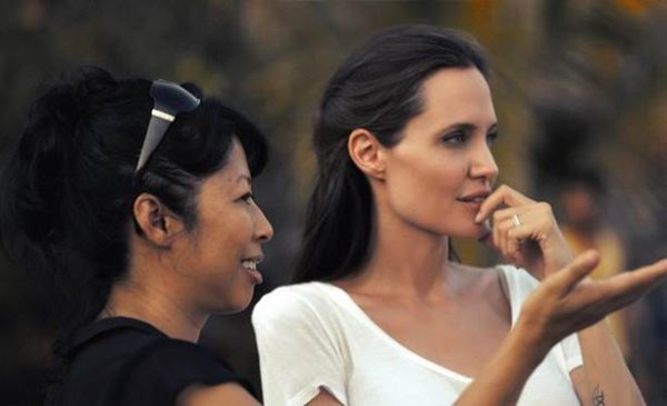 Loung Ung and Angelina Jolie in Cambodia.