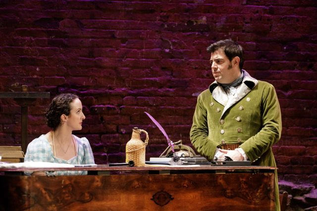 It is not exactly love at first sight for Lizzy (Kate Hamill) and Mr. Darcy (Jason O'Connell) in Pride and Prejudice (photo by James Leynse)