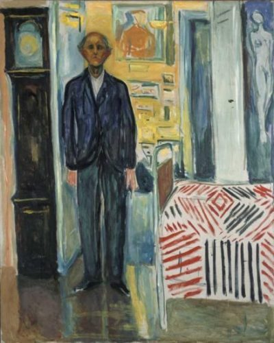 "Edvard Munch, ""Self Portrait between the Clock and the Bed,"" oil on canvas, 1940–43 (© 2017 Artists Rights Society (ARS), New York / photo © Munch Museum)"