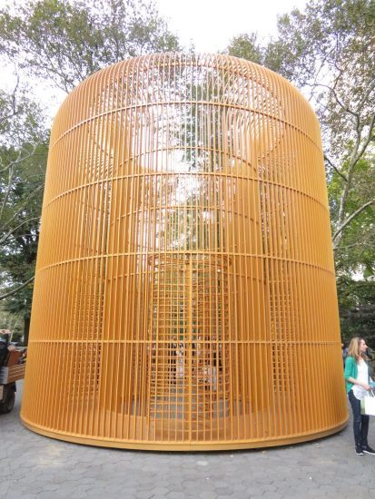 Gilded Cage sits on the edge of busy Central Park entrance (photo by twi-ny/mdr)