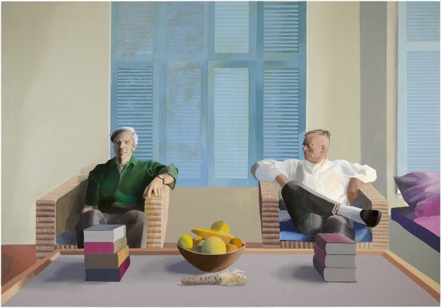 "David Hockney ""Christopher Isherwood and Don Bachardy"" 1968 Acrylic on canvas 83 1/2 x 119 1/2"" © David Hockney"