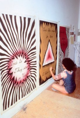 Judy Chicago Designing the Entry Banner for The Dinner Party, 1978 (courtesy of Through the Flower Archive)