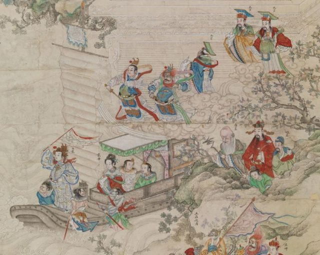 Anonymous. (Detail) Chinese New Year Pantheon. Qing dynasty (1644–1911), late 18th–early 19th century. Ink and colors on paper. Private Collection. Photography by John Bigelow Taylor 2017