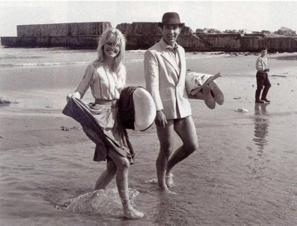 Brigitte Bardot and Michel Piccoli take a break from filming Jean-Luc Godards Contempt