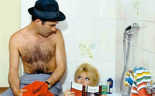 A barechested Michel Piccoli gets a bit of contempt from Brigitte Bardot in Jean-Luc Godard film
