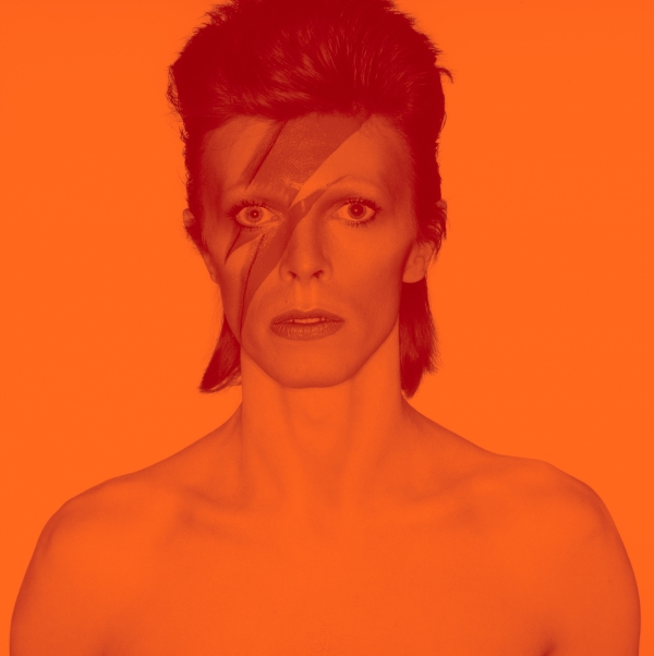 Photograph from the cover shoot for Aladdin Sane, 1973. Photo by Brian Duffy. Photo Duffy (c) Duffy Archives & the David Bowie Archive