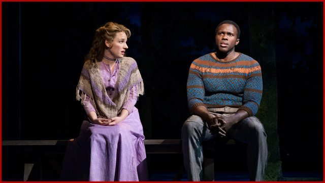 Julie Jordan (Jessie Mueller) and Billy Bigelow (Joshua Henry) fall in love in Carousel revival at the Imperial (photo by Julieta Cervantes)