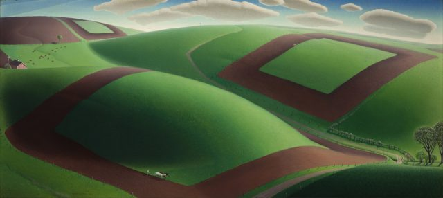 Grant Wood (1891–1942), Spring Turning, 1936. Oil on composition board, 18 1⁄4 x 40 1⁄8 in. (46.4 x 101.9 cm). Reynolda House Museum of American Art, Winston-Salem, North Carolina; gift of Barbara B. Millhouse 1991.2.2. © Figge Art Museum, successors to the Estate of Nan Wood Graham/Licensed by VAGA, New York, NY. Image courtesy Reynolda House Museum of American Art, affiliated with Wake Forest University