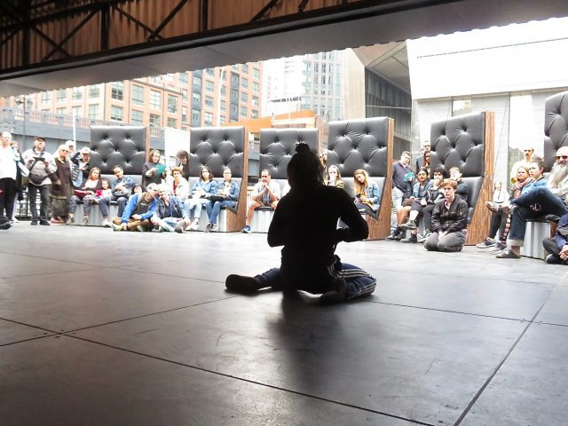 Roderick George performs to a surprised audience at Prelude to the Shed (photo by twi-ny/mdr)
