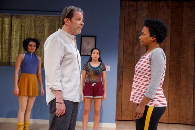 Dance Teacher Pat (Thomas Jay Ryan) talks strategy with Zuzu (photo by Joan Marcus)