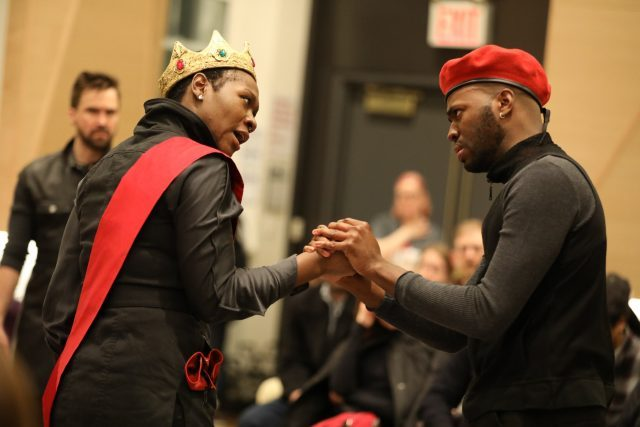 Hamlet (Chukwudi Iwuji) is back home at the Public Theater after Mobile Unite road trip across the five boroughs (photo by Joan Marcus)