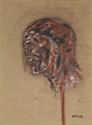 Right: Leon Golub (American, 1922–2004). Vietnamese Head, 1970. Acrylic on linen, 24 x 18 in. (61 x 45.7 cm). The Metropolitan Museum of Art, New York, Gift of Dan Miller, in loving memory of the artist, 2016 (2016.529.1). Art © The Nancy Spero and Leon Golub Foundation for the Arts/Licensed by VAGA, New York, NY