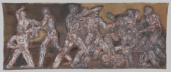 Leon Golub (American, 1922–2004). Gigantomachy II (detail), 1966. Acrylic on linen, 9 ft. 11 1/2 in. x 24 ft. 10 1/2 in. (303.5 x 758.2 cm). The Metropolitan Museum of Art, New York, Gift of The Nancy Spero and Leon Golub Foundation for the Arts and Stephen, Philip, and Paul Golub, 2016 (2016.696). Art © The Nancy Spero and Leon Golub Foundation for the Arts/Licensed by VAGA, New York, NY